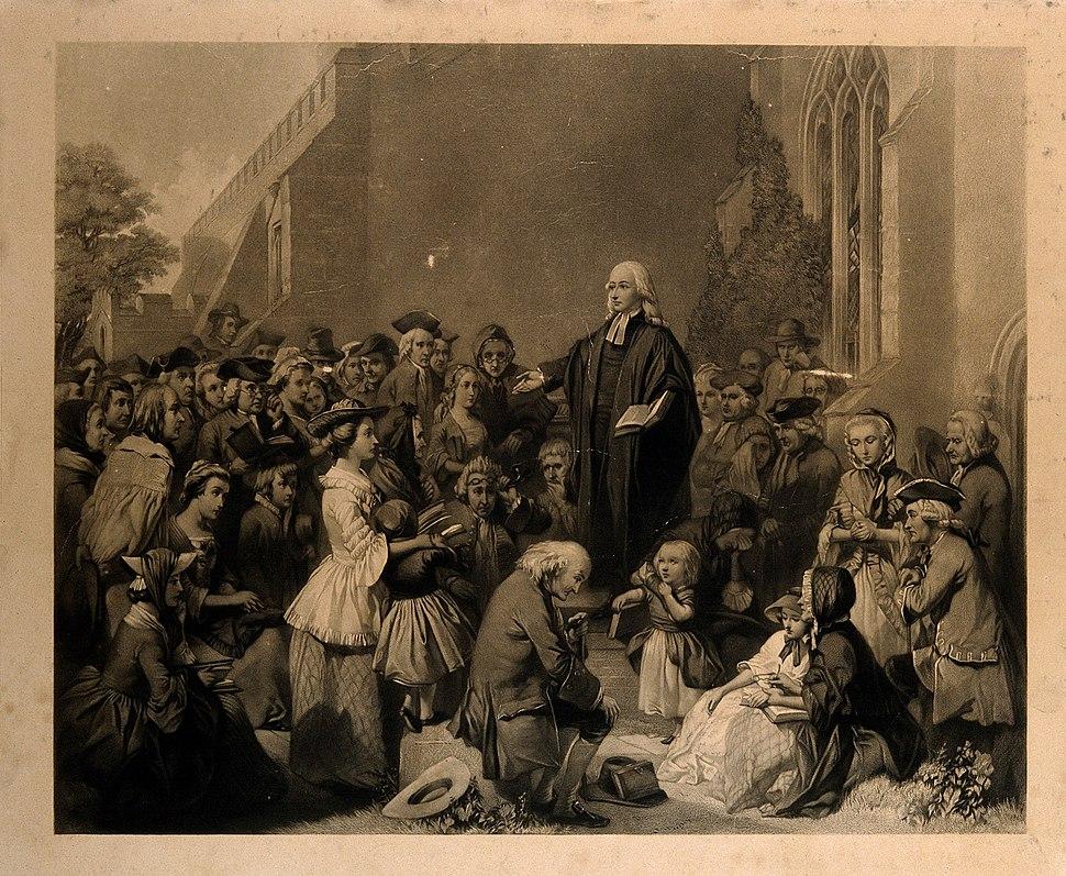John Wesley preaching outside a church. Engraving. Wellcome V0006868