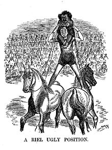 "Cartoon of a man standing with his feet on different horses labelled ""French Influence"" and ""English influence""; another man rides on his back."