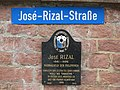 José-Rizal-Straße street sign and José Rizal historical marker in Wilhelmsfeld, Germany.jpg