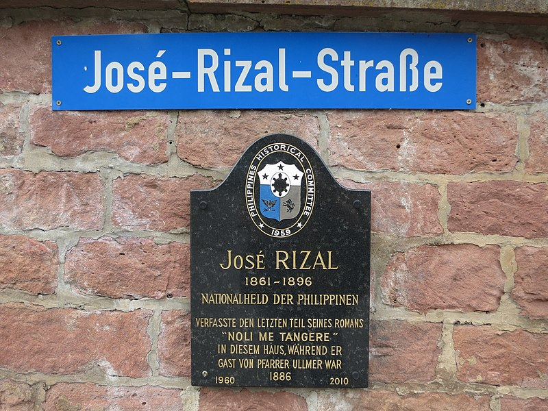 File:José-Rizal-Straße street sign and José Rizal historical marker in Wilhelmsfeld, Germany.jpg