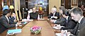 Jose Manuel Garcia-Margallo y Marfil calling on the Union Minister for Finance, Corporate Affairs and Information & Broadcasting, Shri Arun Jaitley, in New Delhi on April 27, 2015.jpg