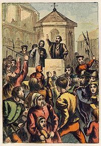 Joseph Martin Kronheim - Foxe's Book of Martyrs Plate VI - Bradford Appeasing the Riot at St. Paul's Cross.jpg