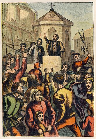 "St Paul's Cross - ""Bradford Appeasing the Riot at St. Paul's Cross"", from an 1887 edition of Foxe's Book of Martyrs illustrated by Kronheim. According to Foxe, Mr. Bourne, a Catholic bishop and speaker, had nearly driven his Protestant listeners to riot, but Bradford came to his rescue and calmed the mob."