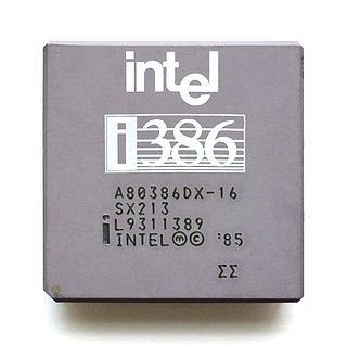 Intel 80386 family of 32-bit microprocessors introduced in 1985, including DX, SX and SL models