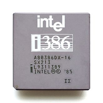 Intel 80386 - An Intel 80386DX 16 MHz processor with a gray ceramic heat spreader.