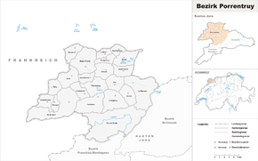Karte von Bezirk Pruntrut (frz.: District de Porrentruy)
