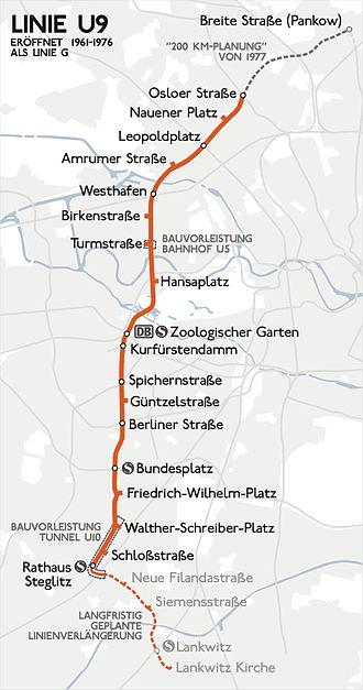 U9 (Berlin U-Bahn) - Image: Karte berlin u u 9
