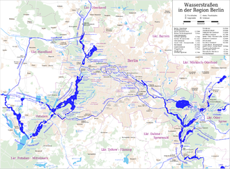 Teltow Canal - Map of waterways in the Berlin region, with the Teltow Canal slightly below the centre