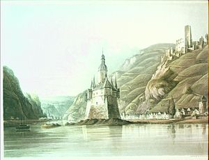 Capture of Bacharach - View of Kaub and Pfalzgrafenstein Castle