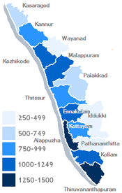 Kerala's districts, shaded by population density (inhabitants per km².