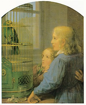 Birdcage - Two children with parrot cage (painting by Georg Friedrich Kersting, ca. 1835)