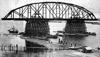 Khabarovsk Bridge - The old Bridge under construction.