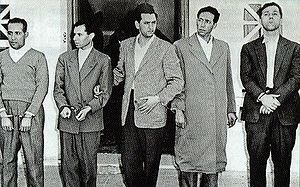 Provisional Government of the Algerian Republic - From left to right: Mohamed Khider, Mustafa Lacheraf, Hocine Aït Ahmed, Mohamed Boudiaf and Ahmed Ben Bella. The picture was taken after their arrest by France.