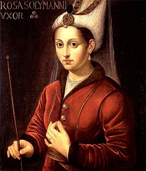Haseki sultan - Contemporary painting of Hürrem Sultan, Ruthenian-born legal wife of Suleiman the Magnificent, first consort of an Ottoman Sultan to hold the title Haseki Sultan.