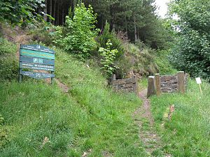 An entrance sign to the woodland, surrounded by grass and trees in the background