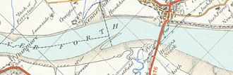 Kincardine Bridge - A map of the bridge and the surrounding river from 1945