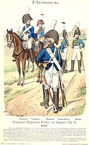 Prussian Dragoons, 1806. The dragoons on the west bank were driven back by the French.