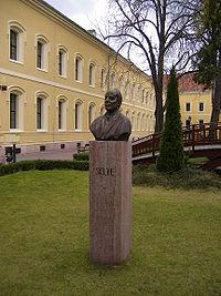 Selye János mellszobra Komáromban, a róla elnevezett egyetemnek otthont adó Tiszti pavilon udvarán