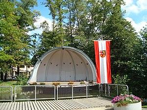 Emmelshausen - Concert shell at Park Emmelshausen, town flag