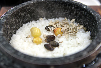 Korean cuisine - Dolsotbap, cooked rice in a stone pot (dolsot)