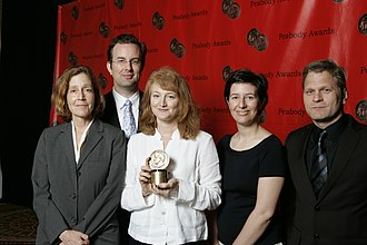 "Krista Tippett - Host Krista Tippett and producers Kate Moos, Mitch Hanley, Colleen Scheck, and Trent Gilliss accept their Peabody Award for ""The Ecstatic Faith of Rumi"" at the 67th Annual Peabody Awards in 2008."