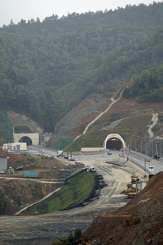 The tunnel of Krrabë is part of the A3 motorway.