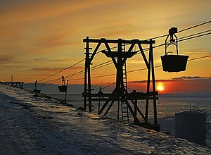 Svalbard - Abandoned aerial tramway previously used for transporting coal