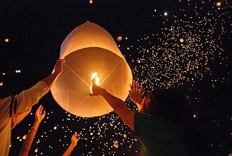 Sky lantern - Release of a sky lantern during Yi Peng near Chiang Mai, Thailand
