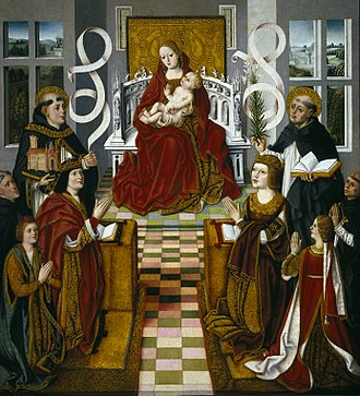 Catholic Monarchs - Virgin of the Catholic Monarchs, (painted ca. 1491-1493). The Virgin Mary (center), with St Thomas Aquinas symbolically holding the Catholic Church and St Domingo de Guzmán, Spanish founder of the Dominican Order, with a book and a palm frond. Ferdinand is with the prince of Asturias and the inquisitor; Isabella with their daughter, Isabel de Aragón.