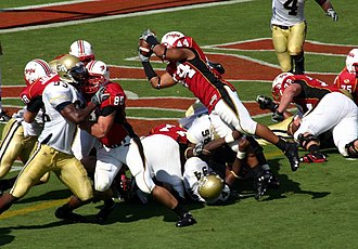 Lance Ball - Lance Ball dives for a TD to put the Terps up 28-17 during a 2007 game vs. Georgia Tech.