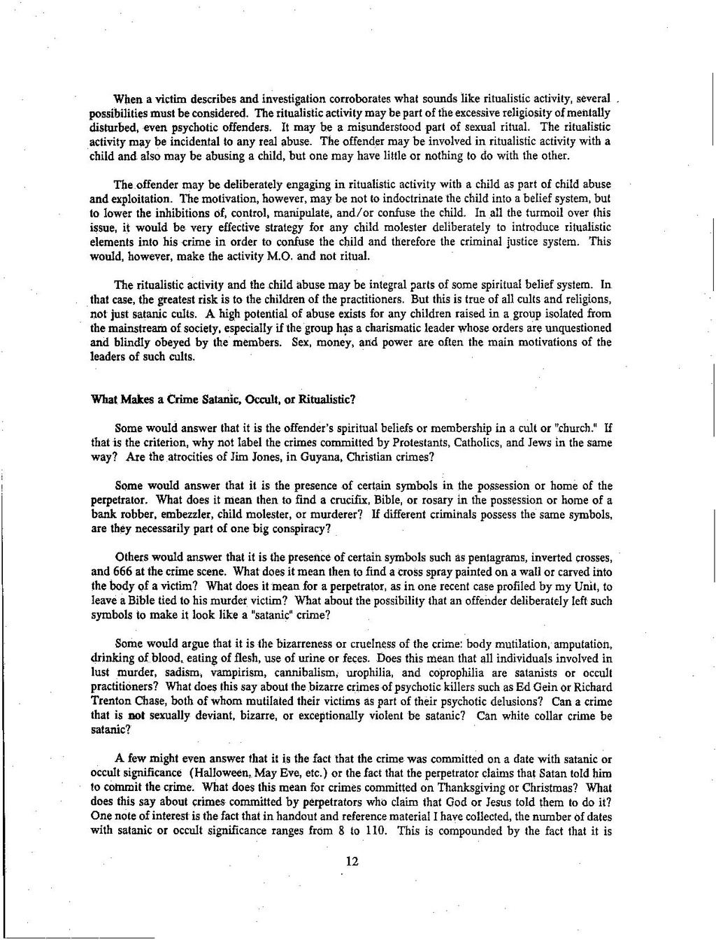 Pagelanning Report 1992 Investigators Guide To Allegations Of