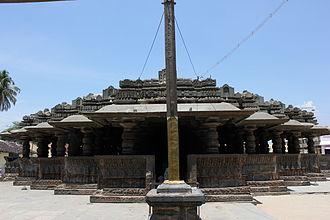 Harihareshwara Temple - staggered square plan of open mantapa (hall) at the Harihareshwara temple at Harihar