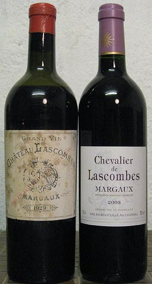 Second wine - The Grand vin and Second vin of the Second Growth estate Château Lascombes; the Second vin is called Chevalier de Lascombes.