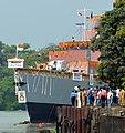 Launching of Third Anti-Submarine Warfare Corvette (ASWC) from Garden Reach Ship Builders and Engineers Ltd., Kolkata on March 26, 2013.jpg