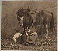 Lawrence Denny Lindsley with his horse and dog near Lake Chelan, August 20, 1912 (MOHAI 6994).jpg