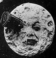 Still from silent film Le Voyage dans la Lune (1902) by Georges Méliès