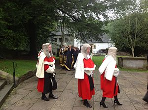 High Court judge (England and Wales) - Red-robed High Court judges in procession at Llandaff Cathedral in 2013