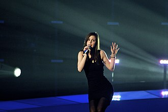 Eurovision Song Contest - Lena, representing Germany, performing Satellite during a rehearsal in 2010