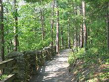 A gravel path through a mixed forest of deciduous and conifer trees, with a rail fence supported by stone pillars left of the path
