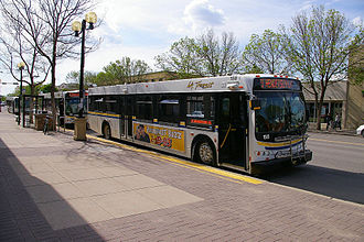 Lethbridge Transit - The downtown Lethbridge transit terminal allows the buses to stop curbside to transfer passengers between routes