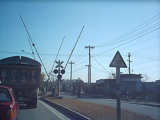 China National Highway 109 - Railroad crossing on National 109