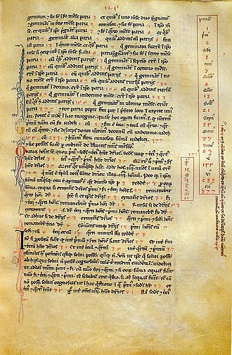 13th century - A page of the Italian Fibonacci's Liber Abaci from the Biblioteca Nazionale di Firenze showing the Fibonacci sequence with the position in the sequence labeled in Roman numerals and the value in Arabic-Hindu numerals.