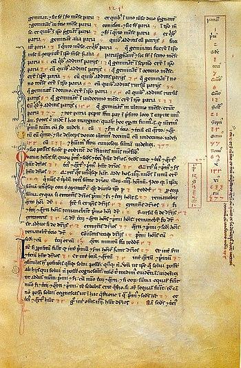 Un foglio del manoscritto su pergamena del Liber abbaci conservato nella Biblioteca Nazionale Centrale di Firenze (Codice magliabechiano Conv. Soppr. C 1, 2616, fol. 124r), contenente nel riquadro a destra le prime tredici cifre, in numeri arabi, della cosiddetta