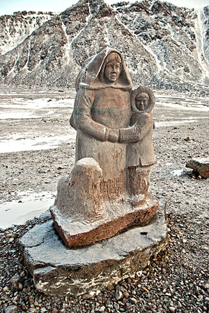 High Arctic relocation - Looty Pijamini's monument of the first Inuit settlers of 1952 and 1955 in Grise Fiord