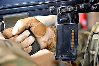 STANAG magazine - Close-up of SA80 with plastic Magpul EMAG. Note: clear viewing window