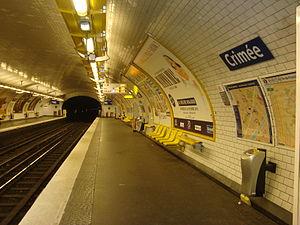 Crimée (Paris Métro) - Image: Ligne 7 Crimée quai vers sud