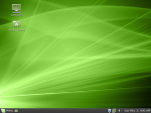 Screenshot of the default desktop of Linux Min...