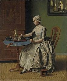 Ritratto di una donna che si appresta a bere della cioccolata (Jean-Étienne Liotard, 1744).