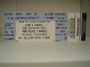 Park Place (Ontario) - A Live 8 ticket for the Barrie show