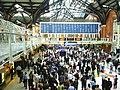Liverpool Street Station concourse, departure board and mezzanine.jpg